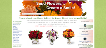 Snapshot of Grower Direct's Home Page